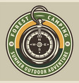 vintage camping round colorful badge vector image vector image