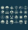 vintage monochrome maritime emblems set vector image