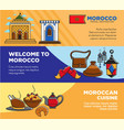 welcome to morocco and moroccan cuisine posters vector image vector image