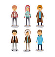 winter people background with men with coats and vector image vector image