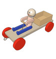 wooden car on white background vector image vector image