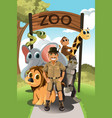 zookeeper and wild animals vector image