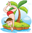A boy diving at the cold water vector image vector image