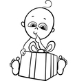 baby boy with gift for coloring book vector image vector image