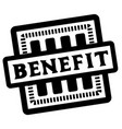 benefit stamp on white vector image vector image