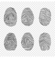 black fingerprint set isolated on transparent vector image