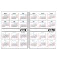 calendar template 2019 2020 vector image vector image