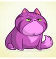 cartoon of grumpy purple cat vector image vector image