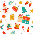 christmas seamless pattern with festive symbols vector image
