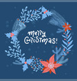 christmas wreath with flowers branches leaves vector image vector image