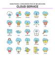 cloud service flat line icon set - business vector image