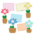 cute flower paper with smiley face and paper note vector image
