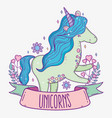 cute unicorn with hearts and branches leaves vector image