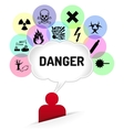Danger sign thinking man vector image vector image