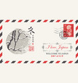 envelope with winter landscape in japanese style vector image vector image