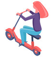 female sitting on eco scooter electric vector image vector image
