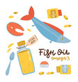 fish oil icons set in flat style isolated vector image vector image