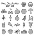 food classification icon set meal symbols vector image