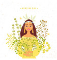 girl herbs vector image vector image