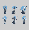 goddess justice themis set vector image vector image
