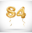 golden number 84 eighty four metallic balloon vector image vector image