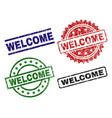 grunge textured welcome seal stamps vector image vector image