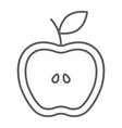 half apple thin line icon food and fruit fresh vector image vector image