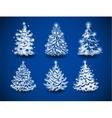 Hand-drawn Christmas trees vector image vector image