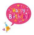 Happy Birthday card with cute bird vector image vector image