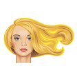 head of a pretty blonde girl with long fluttering vector image