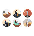 hipster in different life situations vector image vector image