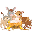 Holy child with animals vector image