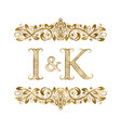 i and k vintage initials logo symbol the letters vector image vector image