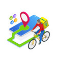 isometric bicycle courier express delivery vector image vector image