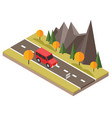 isometric countryside fall road car goes through vector image