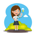 little girl playing tennis happy character vector image