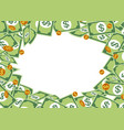 money frame with pile dollar vector image vector image