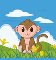 monkey cute animal in landscape vector image
