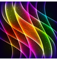 Neon rainbow waves background vector image vector image
