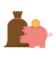 piggy with coin and money vector image vector image