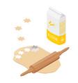 preparing dough baking cookies metal cookie vector image vector image