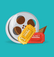 reel filmstrip with tickets to short film vector image vector image