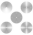 set circles waves on water radio waves vector image vector image