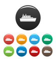 ship travel icons set color vector image vector image