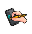 smart device or tablet with hand pen security vector image