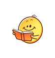 smiley face reading book - cute smiling yellow vector image vector image