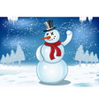 smiling snowman with red scarf and snowball vector image