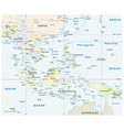 southeast asia map with coordinates and scale vector image vector image