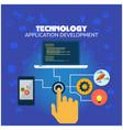 technology application development hand press the vector image