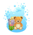 Teddy bear with gift boxes vector image vector image